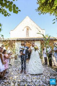 Sortie d'église après le mariage