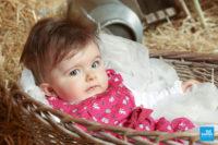 Photo d'un bébé dans une panière en osier en studio