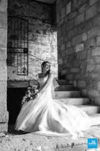 Photo de la mariée à l'abbaye de fontdouce